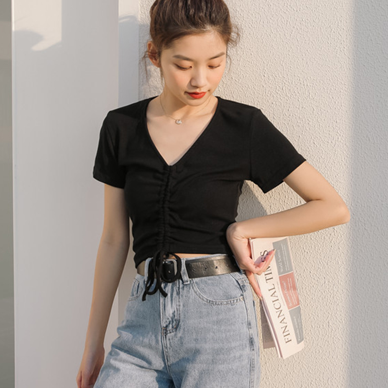 Yiwan 2021 summer new short short sleeve T-shirt slim casual V-neck design fashion women