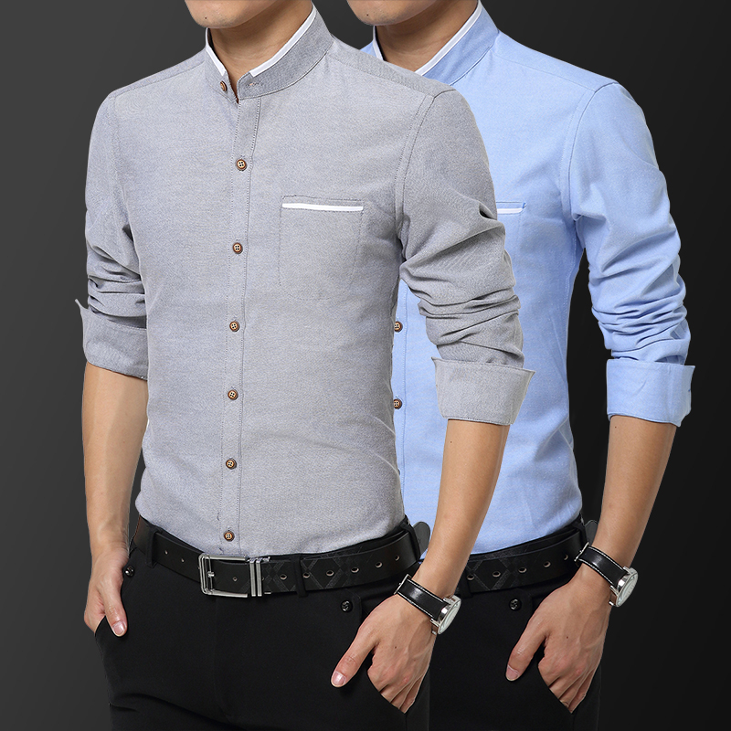 Spring and autumn stand collar Chinese non iron mens long sleeve shirt slim fit business leisure youth Zhongshan collar Round Neck Shirt thin