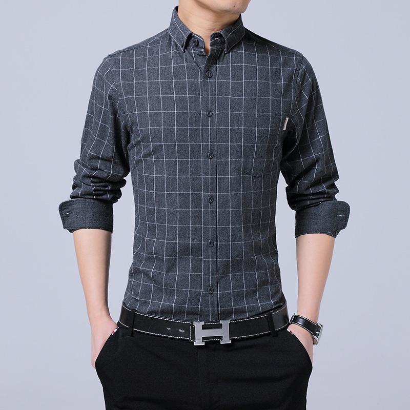 Spring and autumn mens Cotton Plaid long sleeve shirt slim Korean no iron business leisure youth vertical stripe shirt