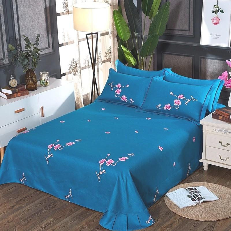 欧式个性亲肤棉四件套蓝色孔雀民族风床单被套床上用品田园1.8m床