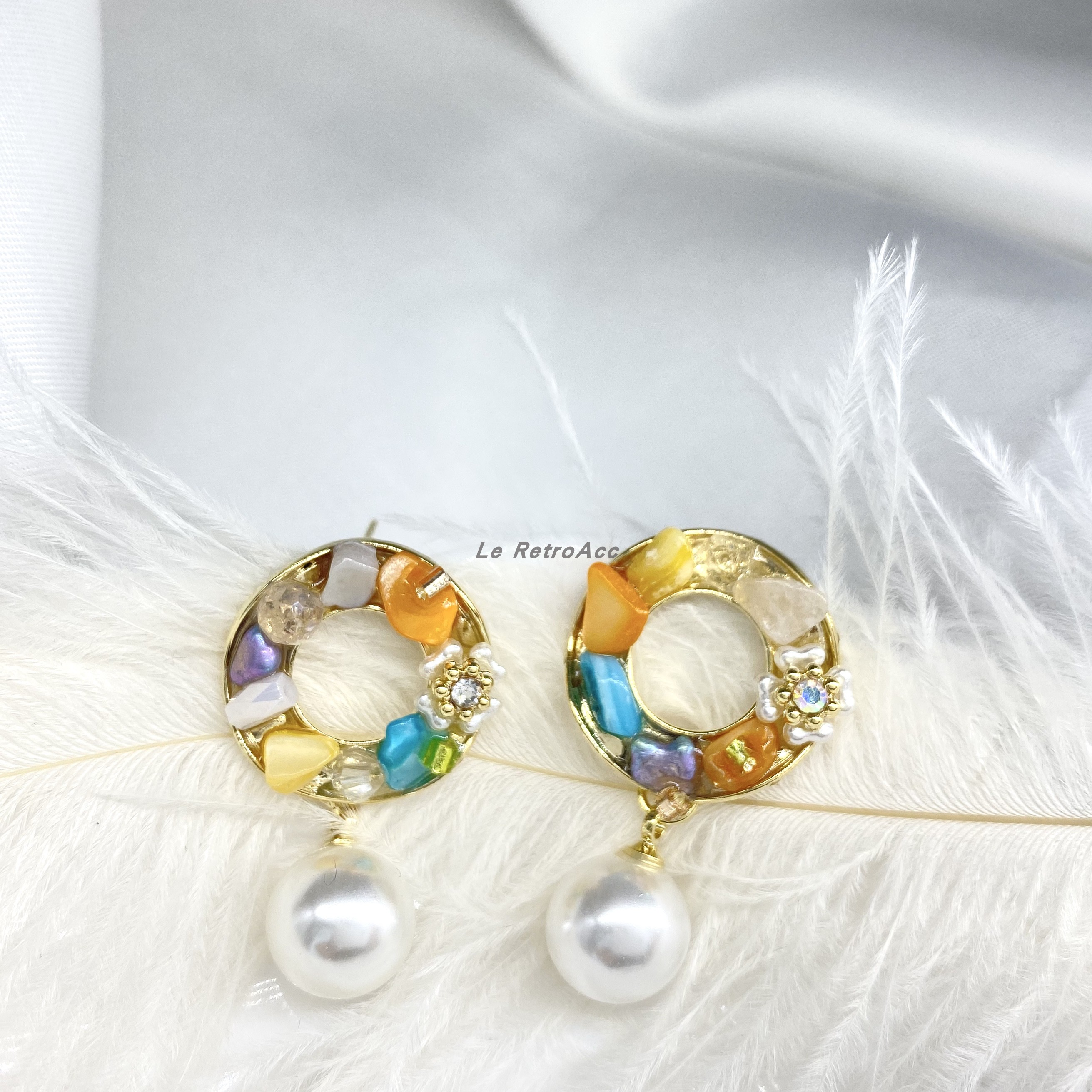 Le retroacc new off the shelf commuter shell gemstone flower pearl inlaid delicate Earrings