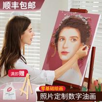 照片填色手工簡單涂色定制裝飾數碼水彩繪diy油彩減壓畫數字油畫