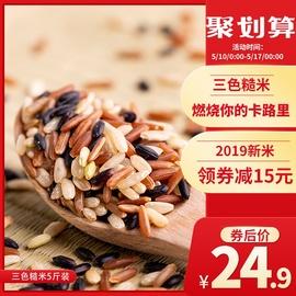 三色糙米新米糙米饭5斤杂粮米粗粮饭五谷杂粮红米健身黑米低脂减图片