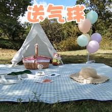 春游野餐垫防潮垫户外便携沙滩防水ins风田园日式格子野餐布拍照