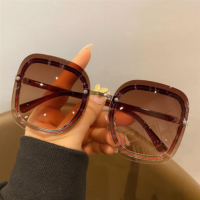 2021新款大方框无框墨镜女显瘦遮阳防紫外线太阳镜茶粉片街拍眼镜
