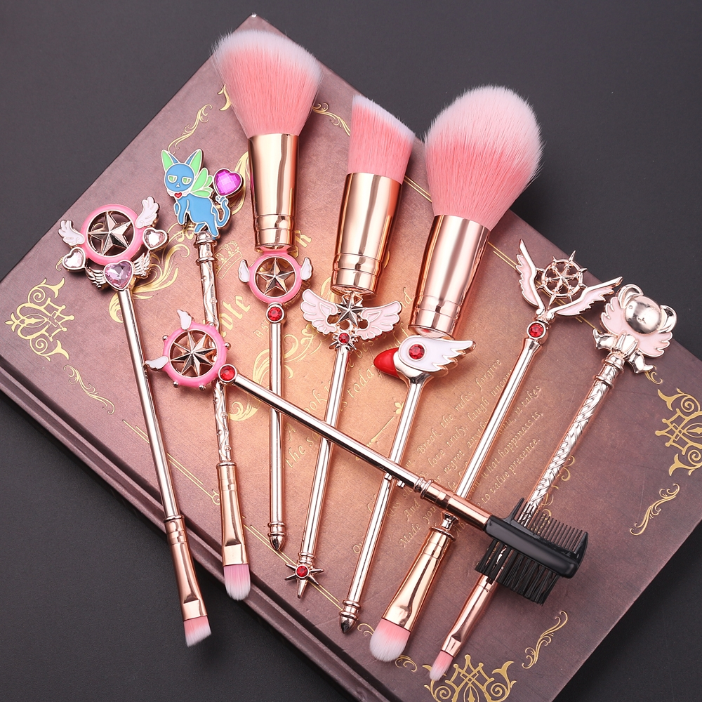 Changing little cherry 8 Makeup Brushes Set with metal handle