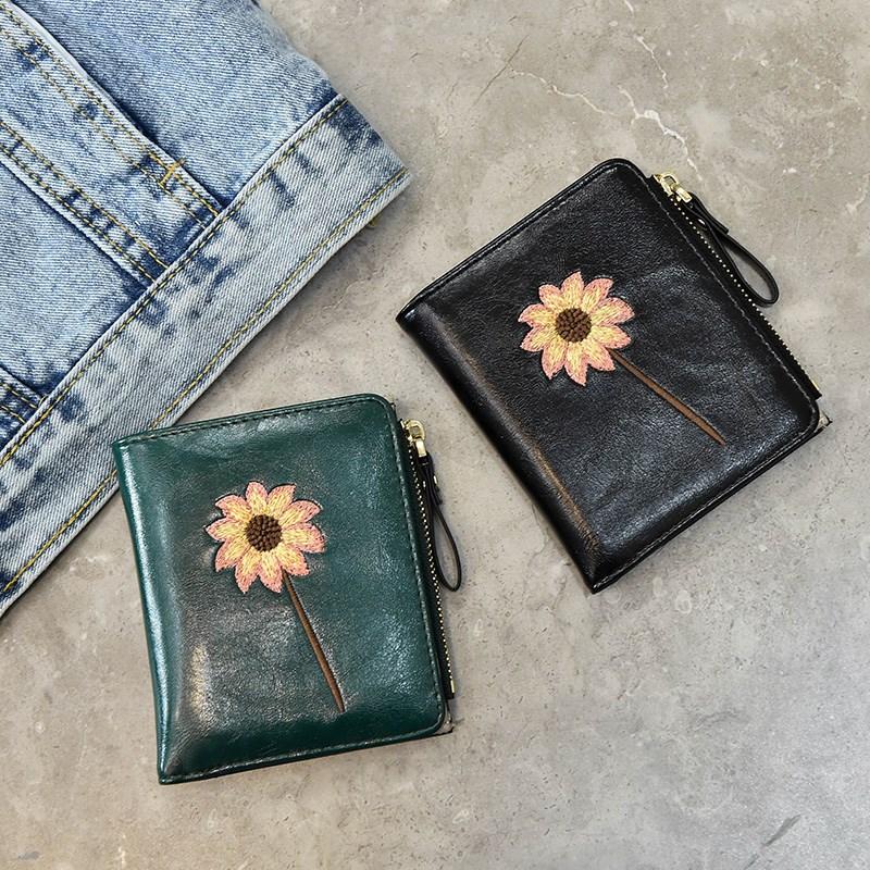 Folding personality womens student small handbag embroidery womens purse small simple fashion womens bag summer small fresh