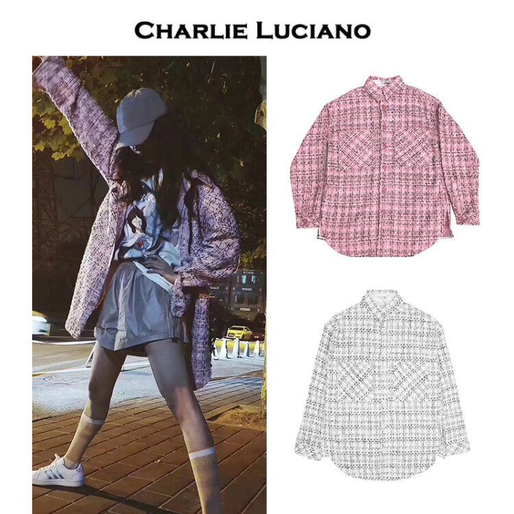 Charlie Luciano fashion outerwear Unisex woven Plaid Shirt CL small fragrance outerwear shirt