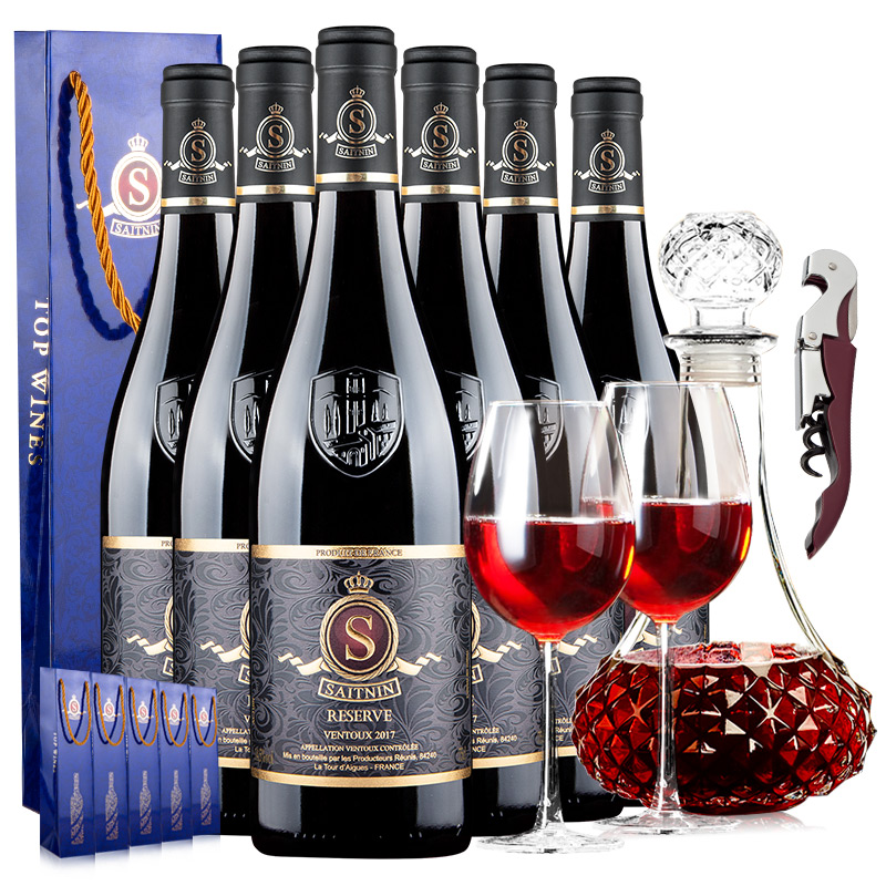 French AOC relief original bottle imported red wine high alcohol 14.5 degree dry red Saint ningsilla wine, 6 pieces in a whole box