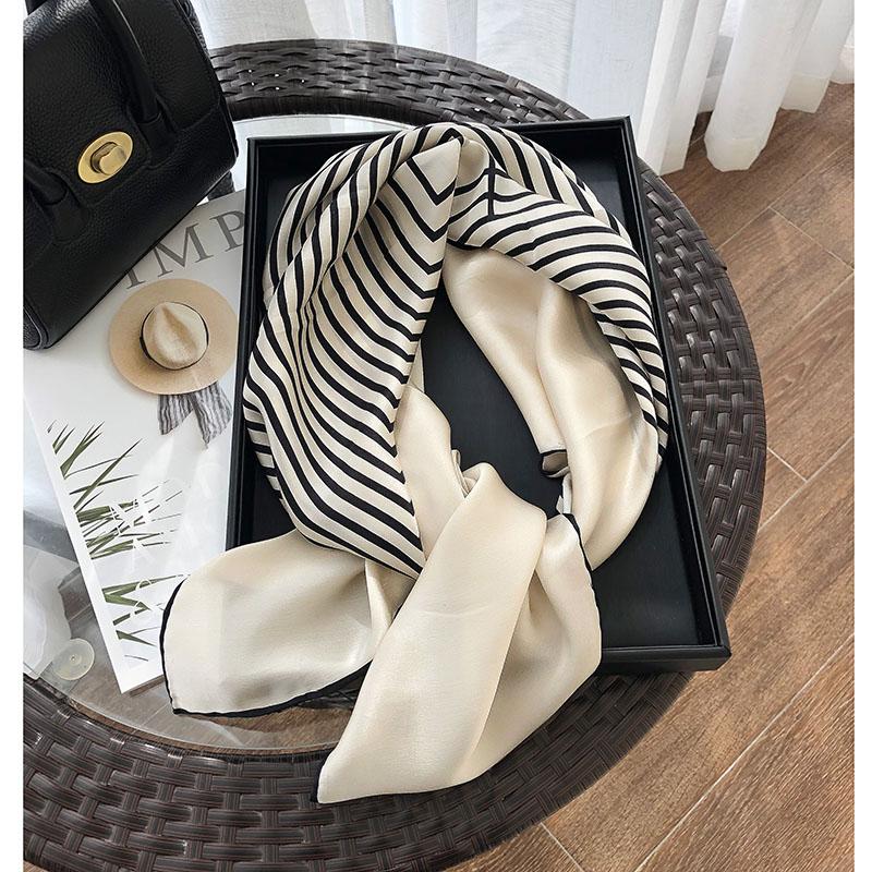 90x90cm silk scarf large square scarf versatile professional Korean autumn style foreign fashion mulberry silk Stripe Scarf