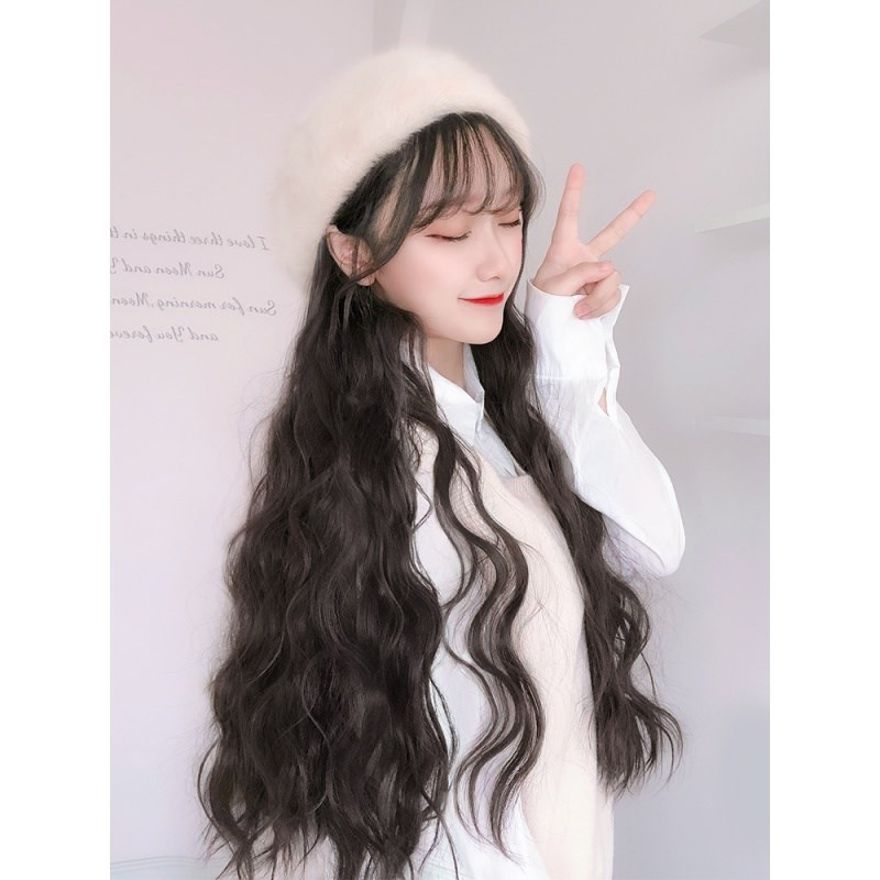 Hat wig integrated womens autumn and winter fashion detachable autumn fashion long curly hair net red simulation round face