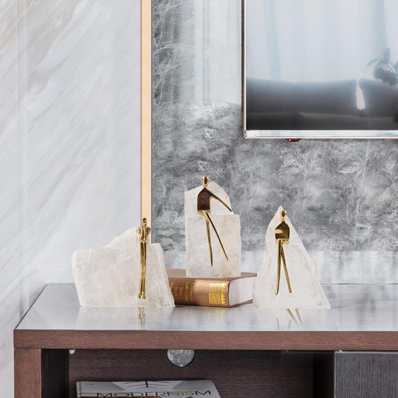 韩国现代黄铜人物水晶石样酒柜家居用品装饰摆设板房摆件新中式办