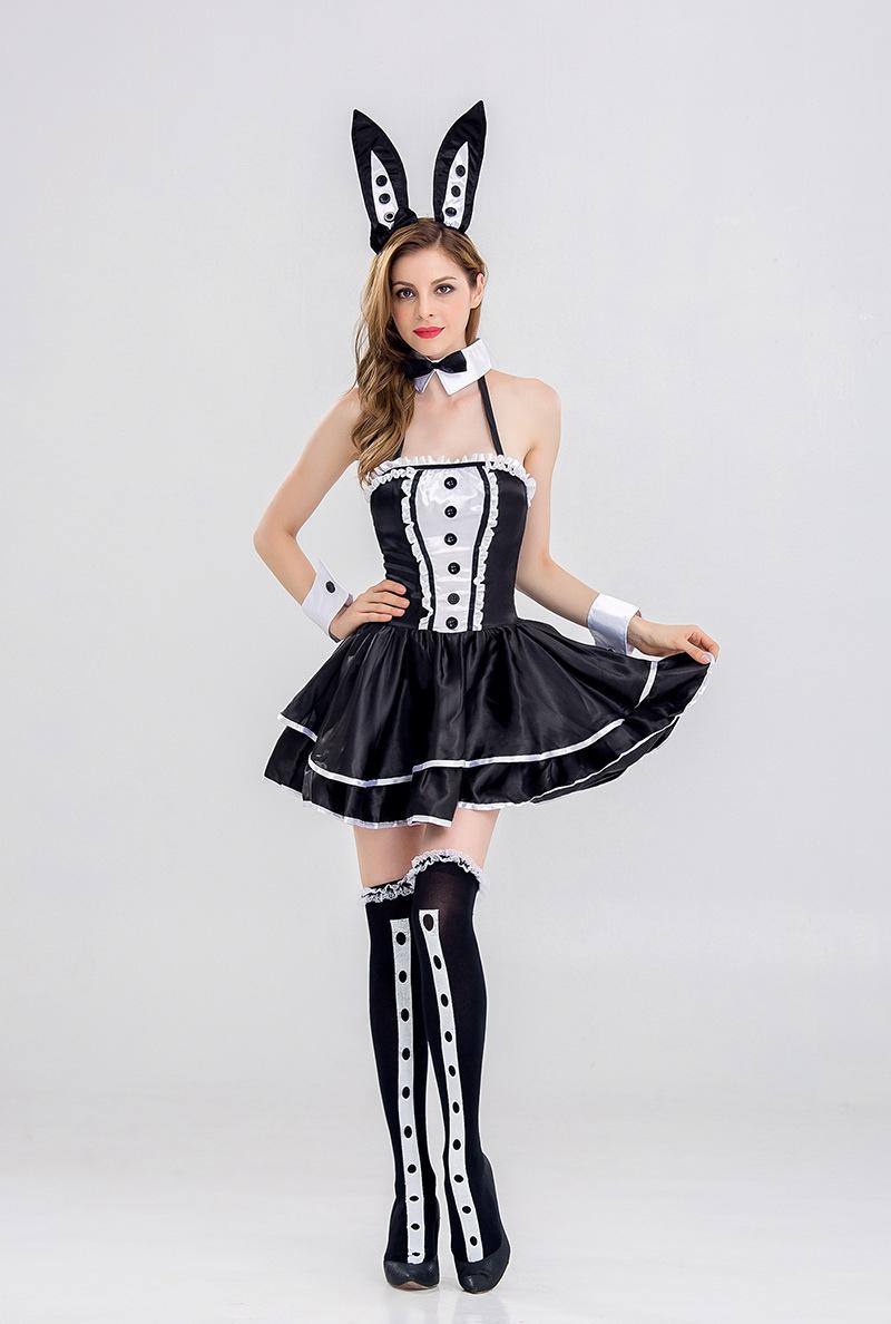郎动物角色扮演服新款黑白兔舞台表演演出聚会夜店cosplay服女