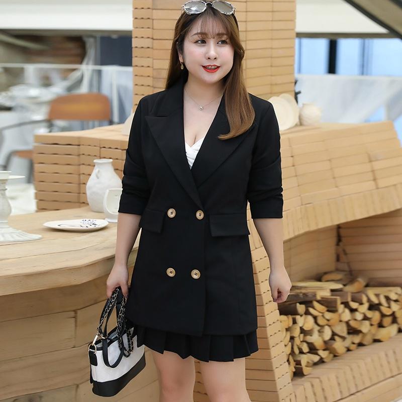 胖女人洋气春装超大码女装特大码220斤遮肚子西装+半身裙两件套装