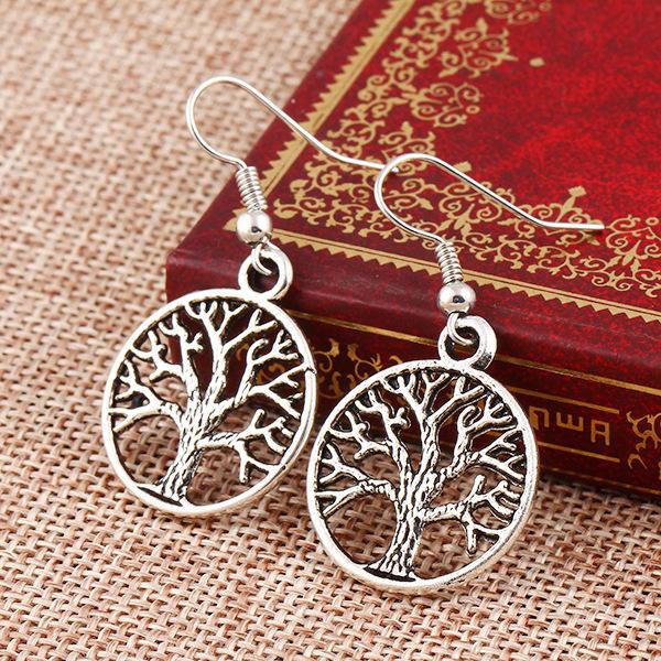 Retro personality hollow out peace tree punk style earrings creative Earrings womens fashion earrings accessories women