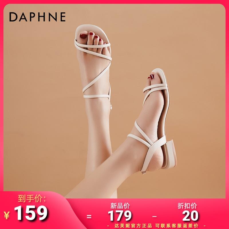 年新款女平底夏季一字扣带露趾粗跟低跟女鞋子2021达芙妮罗马凉鞋