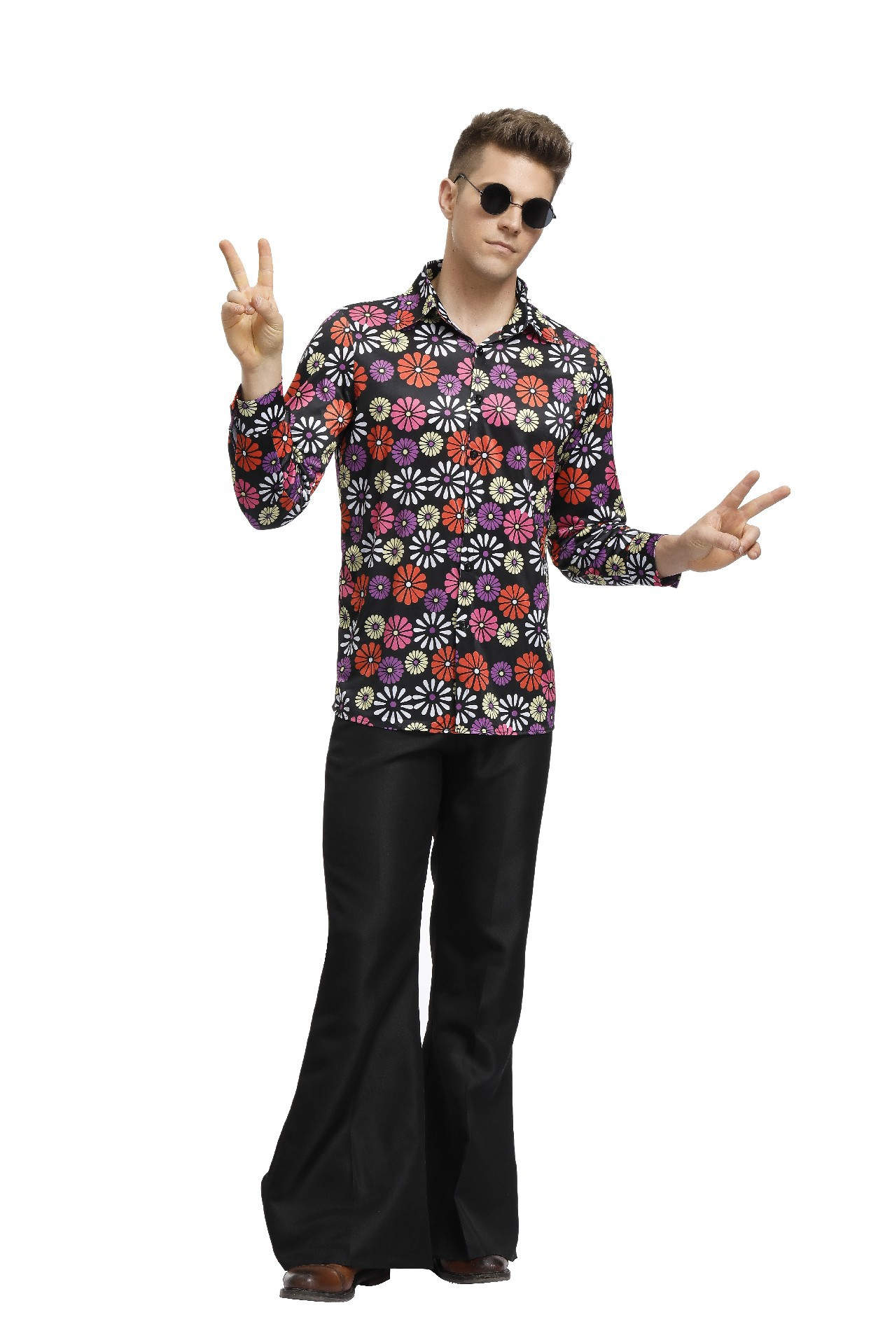 万圣节化妆舞会服装复古迪70年代斯科服装嬉皮士hippie演出服男