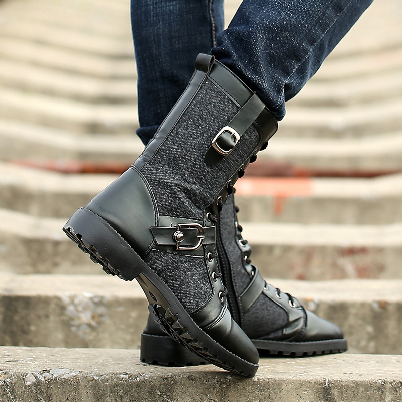 Fashion mens long tube high heel Martin Knight British high bond motorcycle military boots spring womens Korean mid top pointed leather shoes