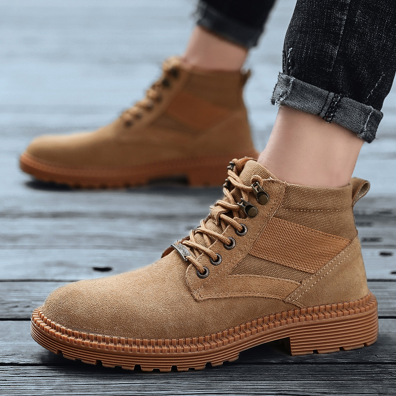 High top medium tube foreign trade Martin work boots autumn British retro mens Wear-resistant labor protection work clothes shoes with jeans