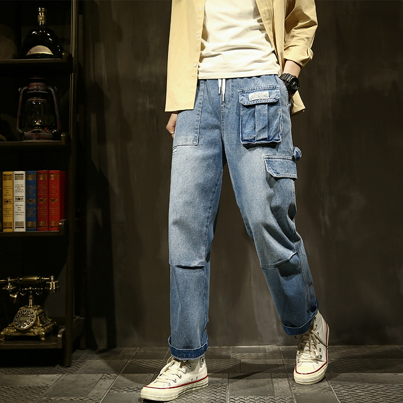 Cropped jeans mens trend slim Korean straight pants overalls mens loose casual pants spring thin
