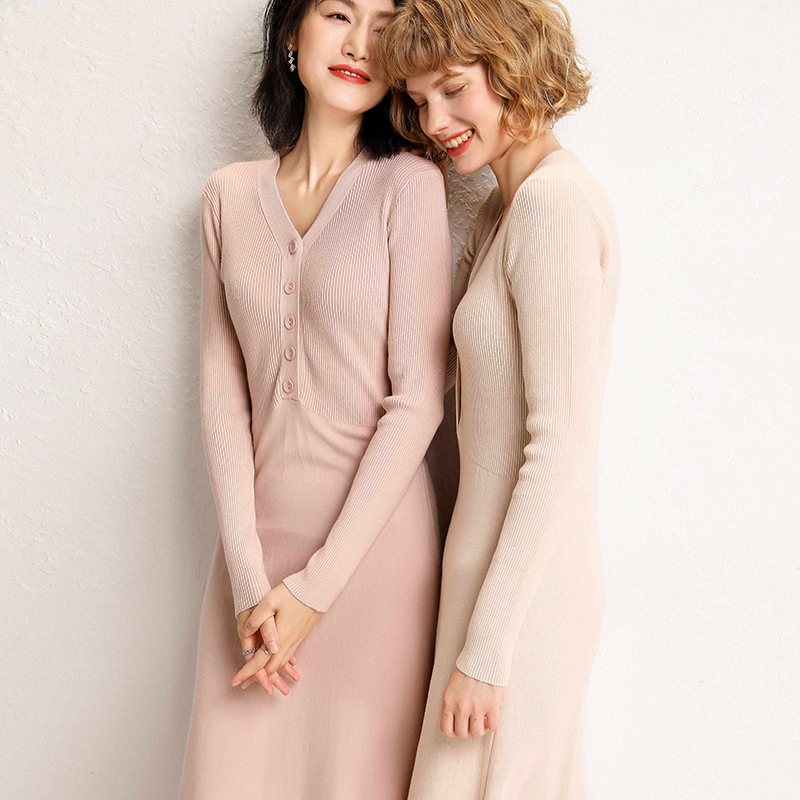 V-neck cardigan sweater womens loose womens Pullover mid length 2019 new autumn / winter knitted dress non cashmere