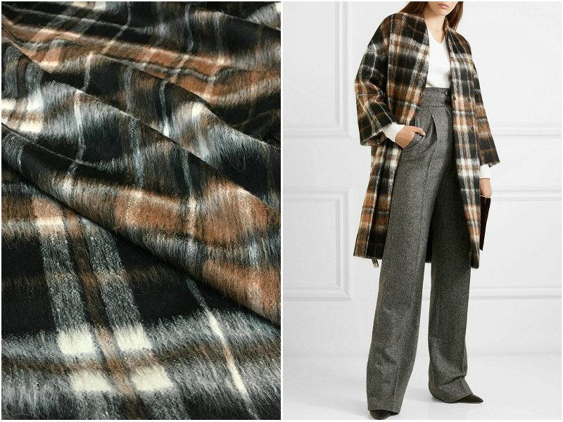 中国欧美复古格纹苏利长毛澳毛高定大衣外套布料单面羊驼绒面料皮