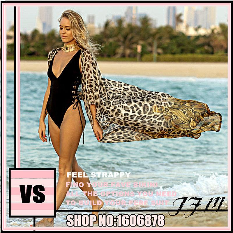 Japan Vito vs sunscreen Leah Chiffon leopard print secret loose large beach coat cardigan swimsuit