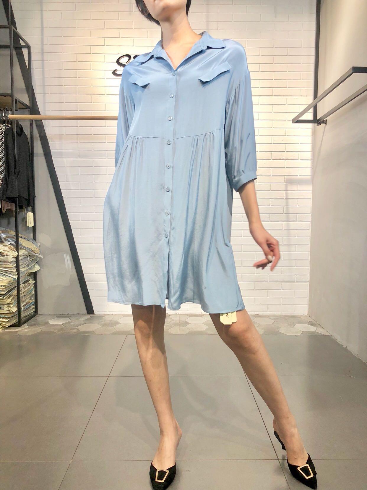 SUMA定制 设计师金丝绸缎衬衣连衣裙 职业通勤高腰皱褶