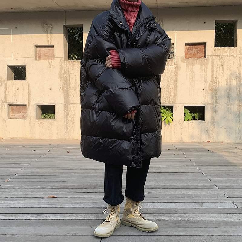 冬季面包服男宽松帅气韩版潮流学生ins加厚亮面棉衣男中长款外套