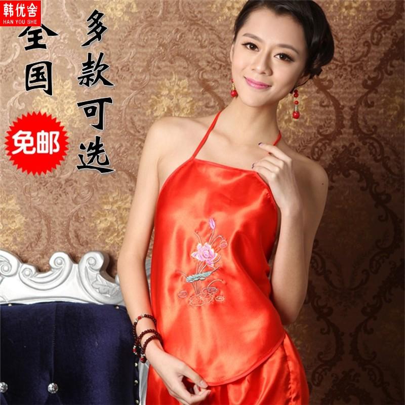 。可爱大码肚兜女士性感成人通用加大家用古风红色肚脐露脐套装