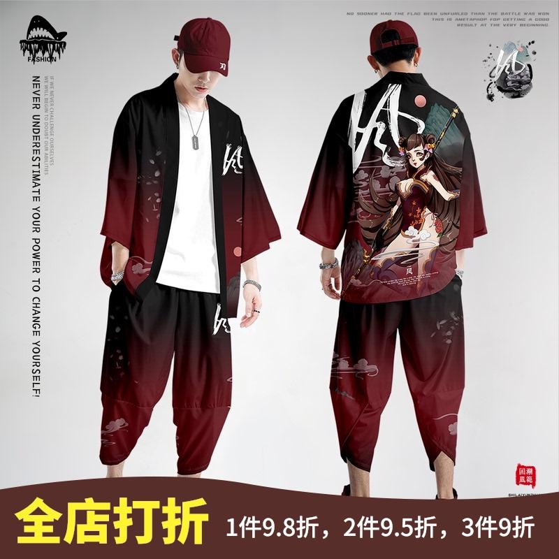 道袍古风男装中国风七分袖开衫和服羽织防晒服浮世绘汉服男衬衫夏