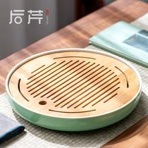 后芹家用茶盘陶瓷简约日式小茶台密胺干泡竹托盘圆形功夫茶具储水