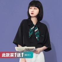日系垂感雪纺短袖黑白衬衫女复古bf港风宽松韩版百搭夏季衬衣薄款