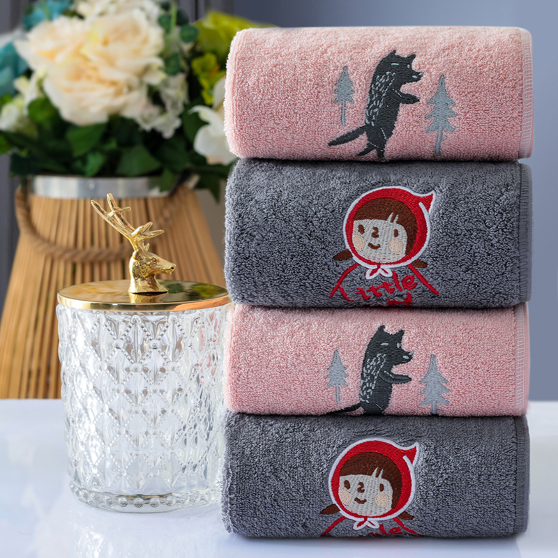 Nine craftsman cartoon embroidery towel pure cotton face washing household water absorbent cotton towel 4 pack big gray wolf little red cap