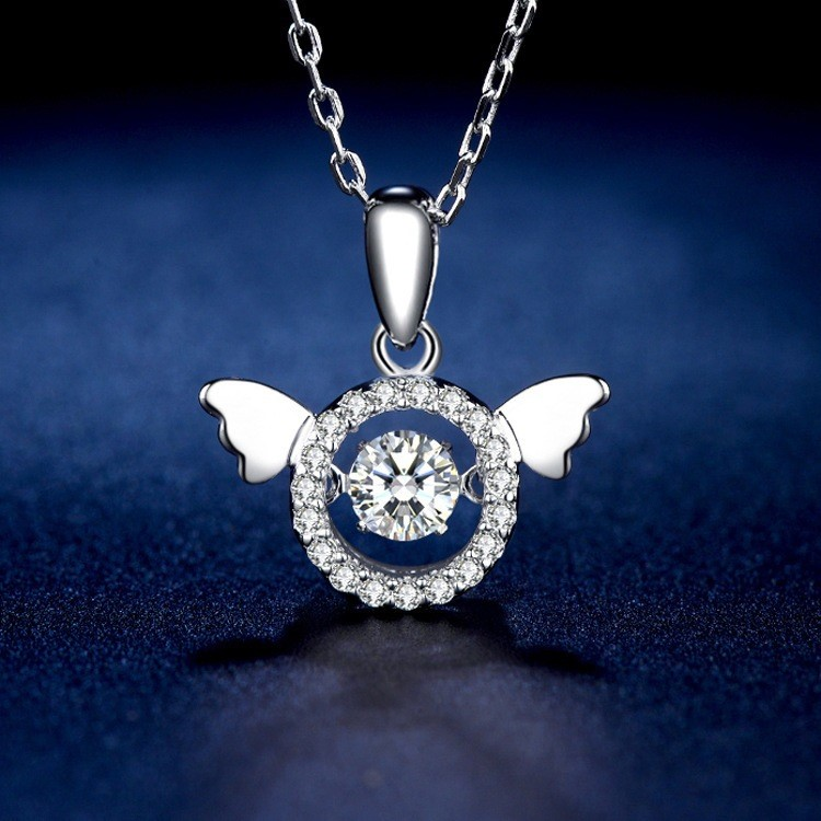 Fashion simple new smart Necklace female clavicle chain Angel Wing Pendant S925 silver needle beating heart necklace
