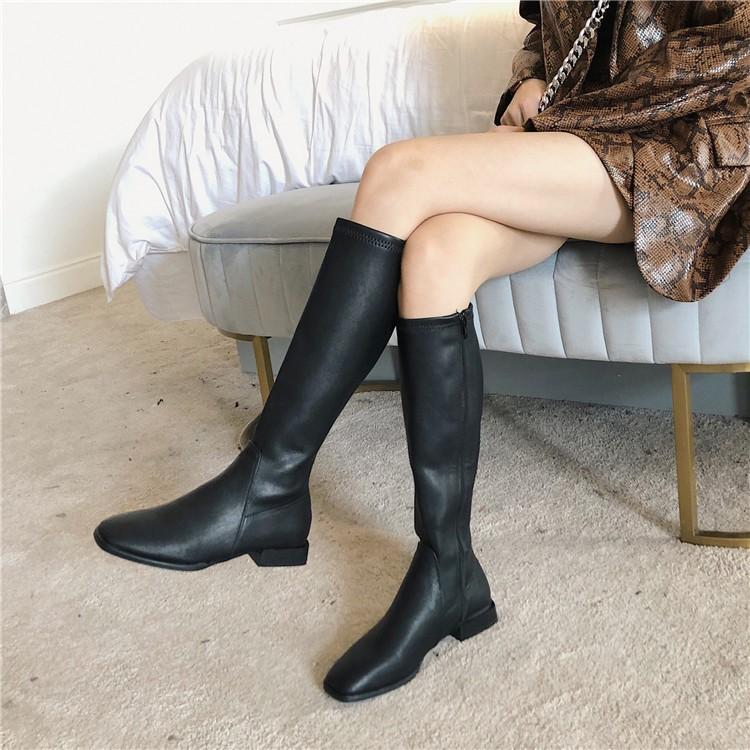2019年方头新款 鞋子/绒面长靴平底高筒百搭靴子秋冬女皮面