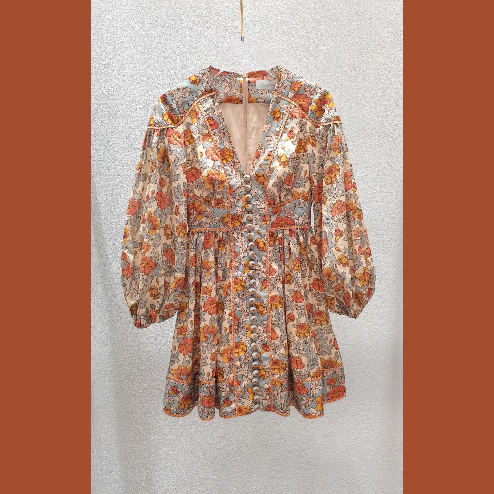 Z*M澳洲 春季新款22纽扣迷你棉质连衣裙短款裙子修身显瘦花卉印花