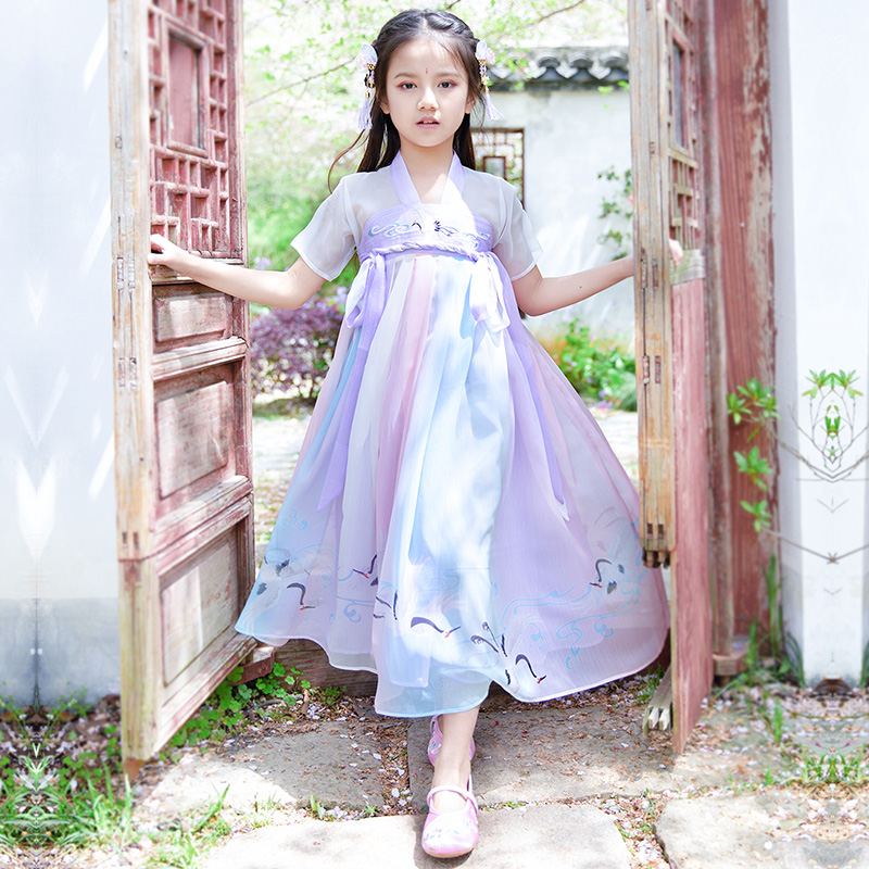 Improved Hanfu girls ancient clothes summer Princess Dress super fairy little girls clothes Chinese style short sleeve performance clothes