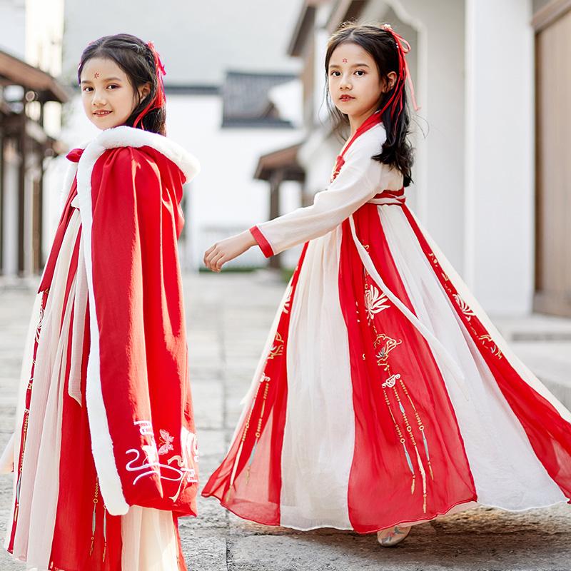 儿童汉服女童古装超仙襦裙中大童秋冬连衣裙宝宝拜年服中国风古装