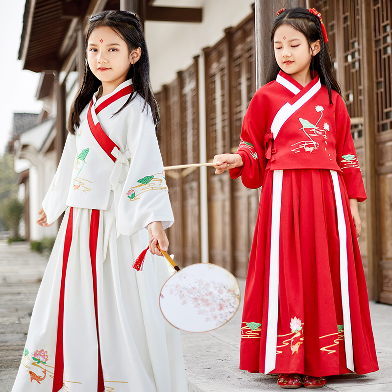 Hanfu girls spring and autumn Tang clothes childrens ancient clothes super fairy little girls Chinese style performance clothes foreign style dress childrens clothes
