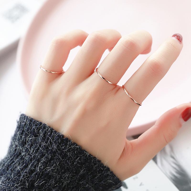 【DXK】洗手不用摘3件套 镀玫瑰金时尚个性钛钢食指戒指女ins尾戒