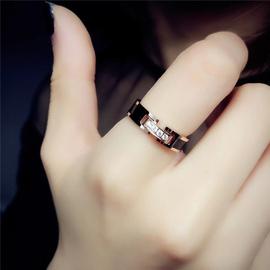 DXK小众设计网红时尚个性不掉色钛钢食指戒指女ins潮韩版简约指环