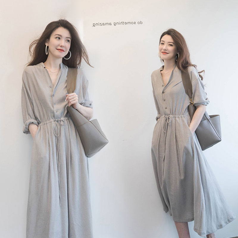 Womens dress long style and ankle summer waist long skirt over knee middle sleeve temperament show thin big swing high