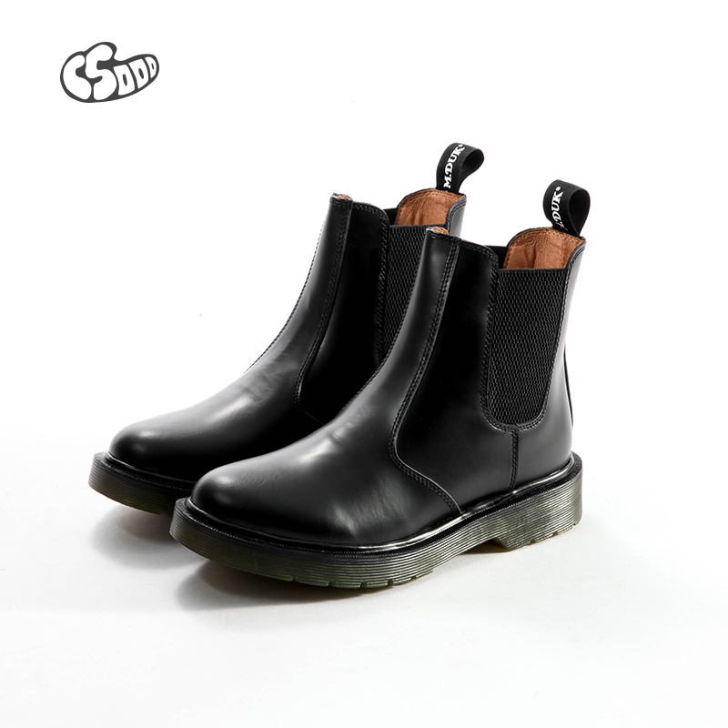 C5000 autumn and winter Chelsea short boots womens English style leather short boots with round head and ankle