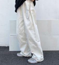 偷吃奶油 链条调节腰直筒阔腿牛仔裤男女潮宽松垂感高腰显瘦长裤