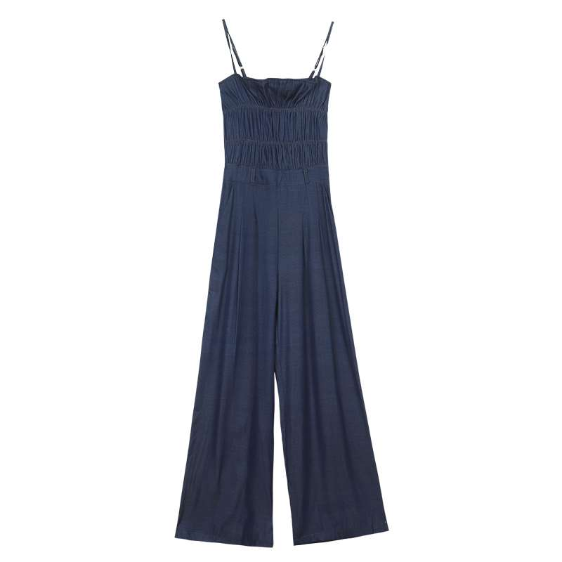 Off shoulder suspender with bra and denim one piece pants womens summer long style 2020 new summer thin one piece wide leg pants