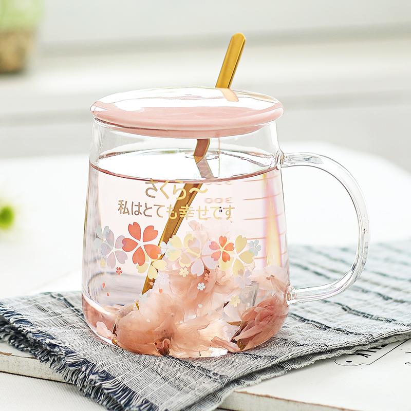 日系樱花杯子耐热玻璃水杯带刻度马克杯办公室女用花茶杯子带盖勺图片