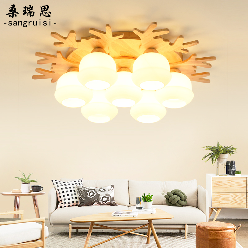 Creative antler ceiling lamp LED simple modern personalized dining room bedroom lamp Nordic solid wood living room lamp