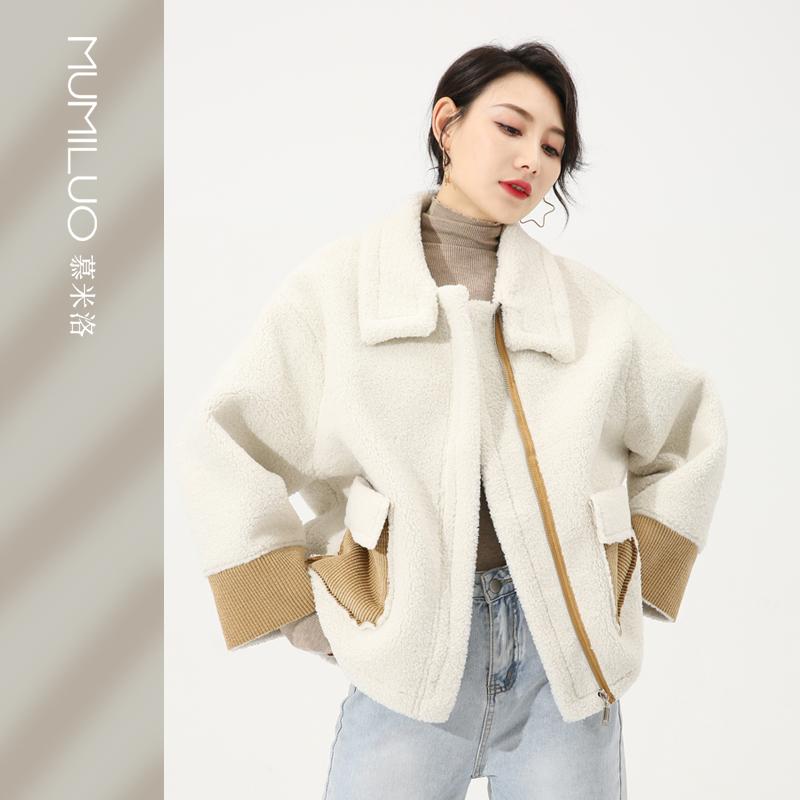 慕米洛冬季韩版百搭宽松加厚毛绒皮毛一体夹克短款羊羔毛外套女