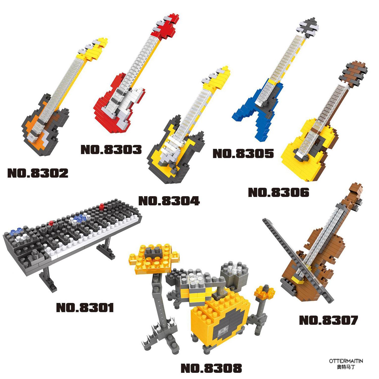 兼容乐高成人微型小提琴吉他钢琴